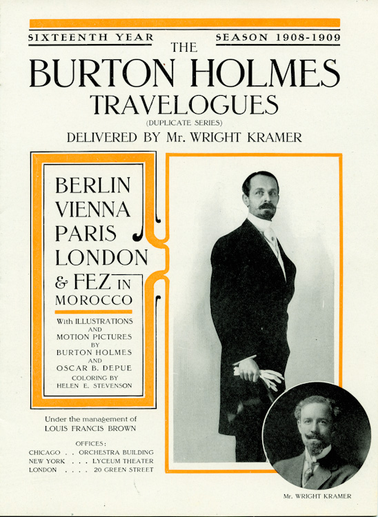 Program for Burton Holmes Lecture Series, 16thth year, 1908-09